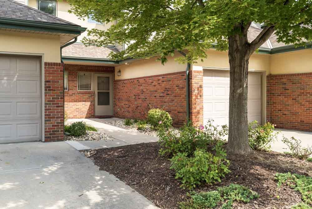 Attached garages and private entrances at Southwind Villas in southwest Omaha in La Vista, NE, 68128