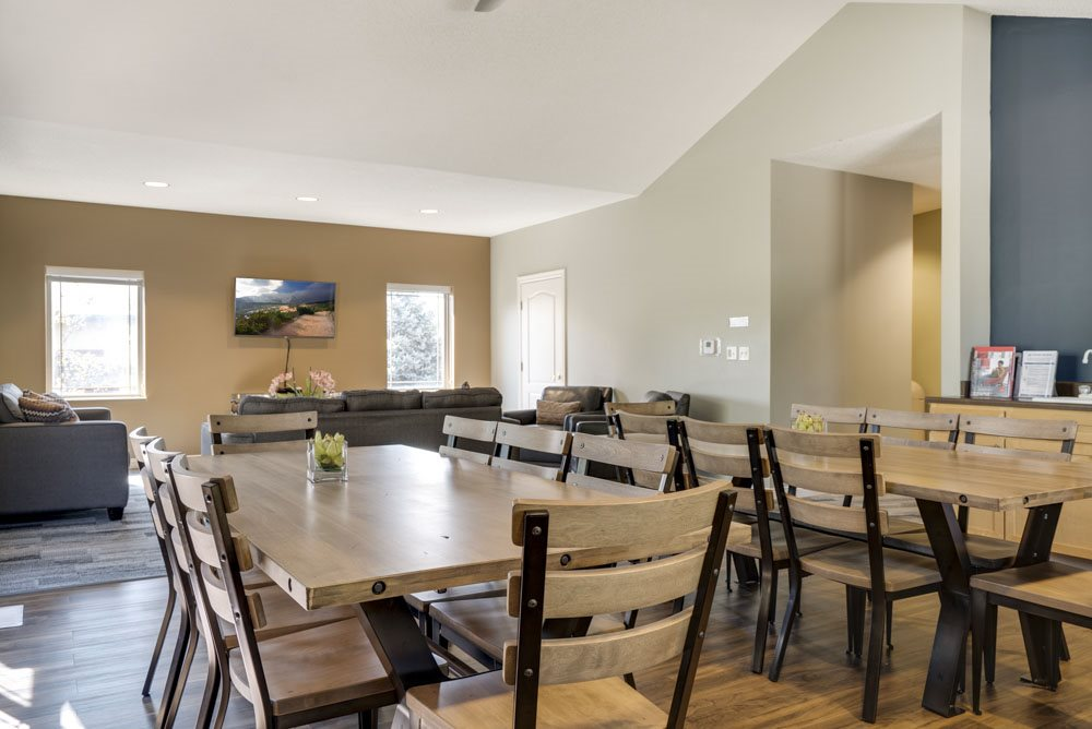 Clubhouse seating with TV lounge at Southwind Villas in southwest Omaha in La Vista, NE, 68128