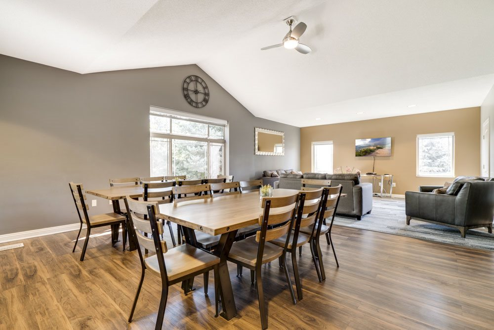 Clubhouse with seating and TV lounge at Southwind Villas in southwest Omaha in La Vista, NE, 68128