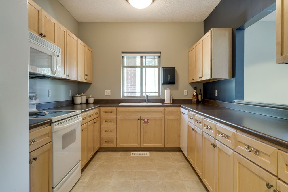 Full kitchen in the clubhouse for resident use at Southwind Villas in southwest Omaha in La Vista, NE, 68128