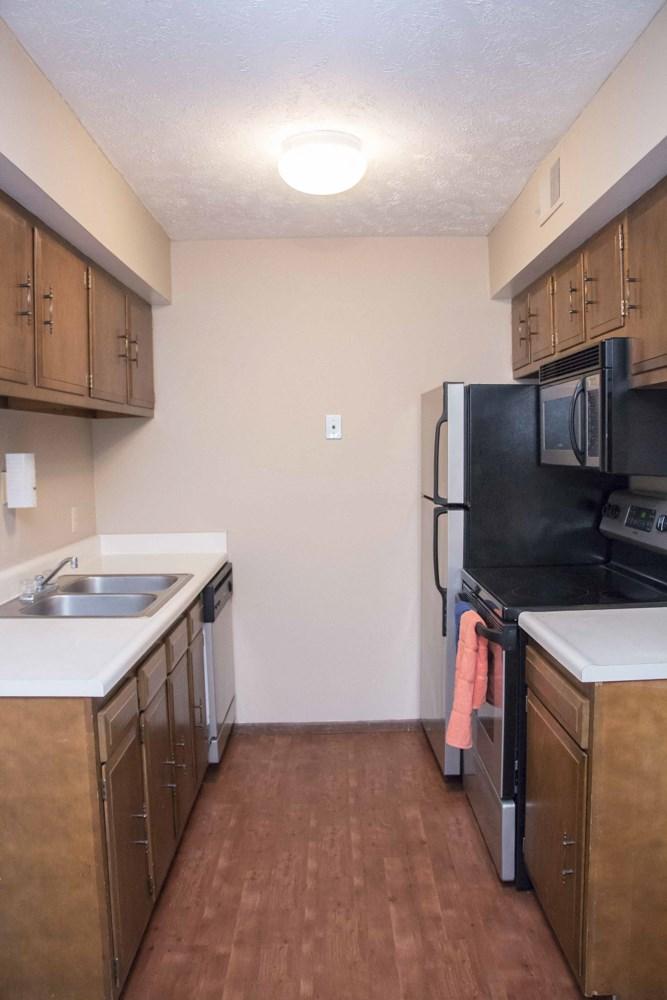 Updated 1 bedroom kitchen at Place 72 near Aksarben