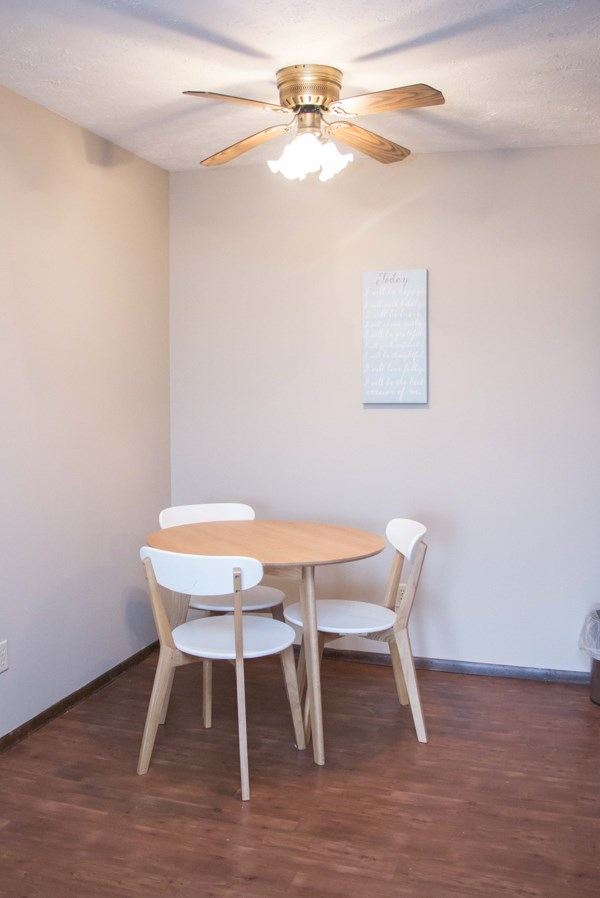 Updated kitchen with wood floors at Place 72 near Aksarben