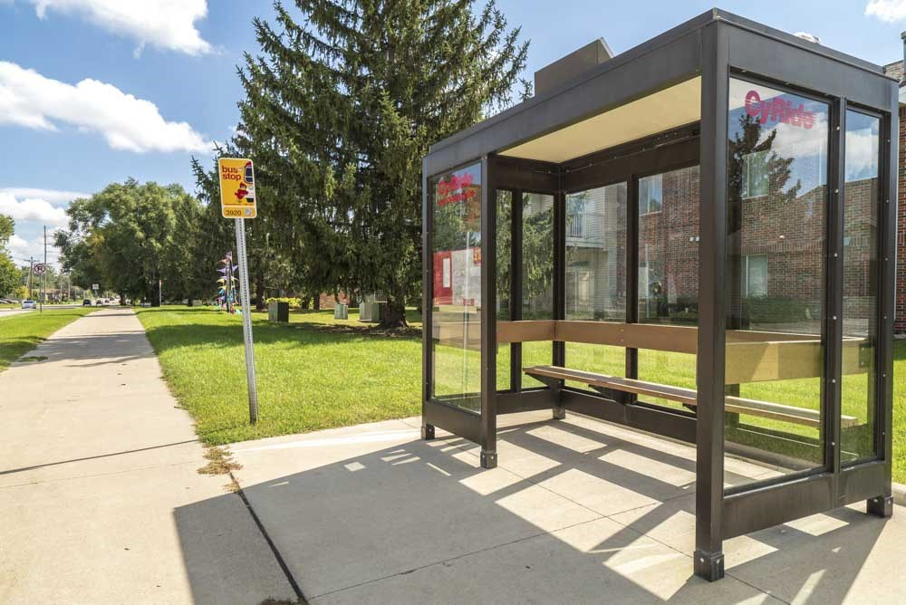 CyRide bus stop on property at Wyndham Heights Apartments in west Ames, IA 50014