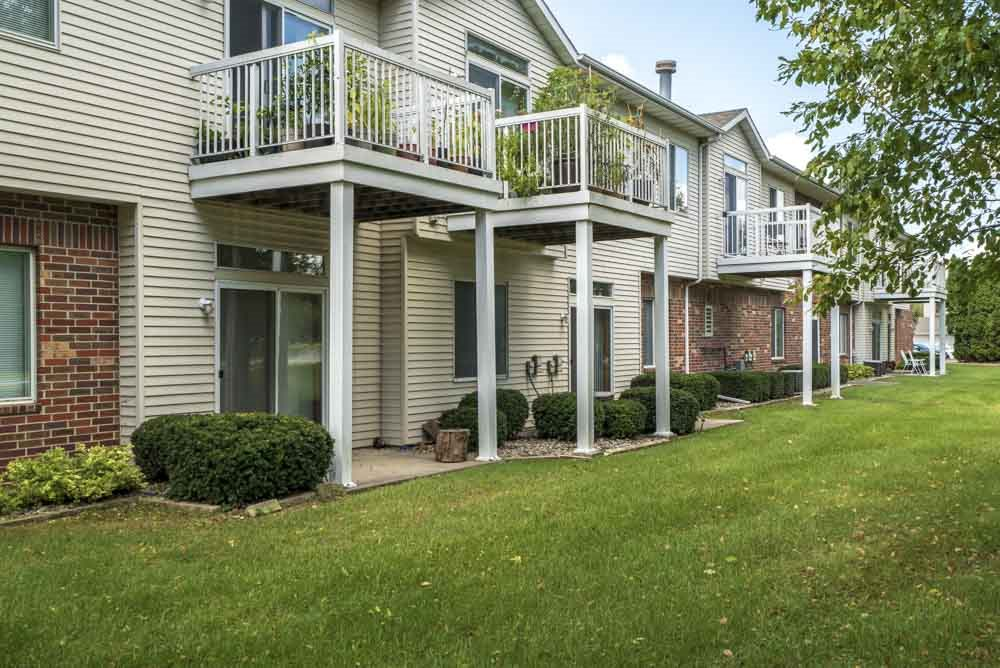 Private balconies and patios at Wyndham Heights Apartments in west Ames, IA, near Iowa State 50014