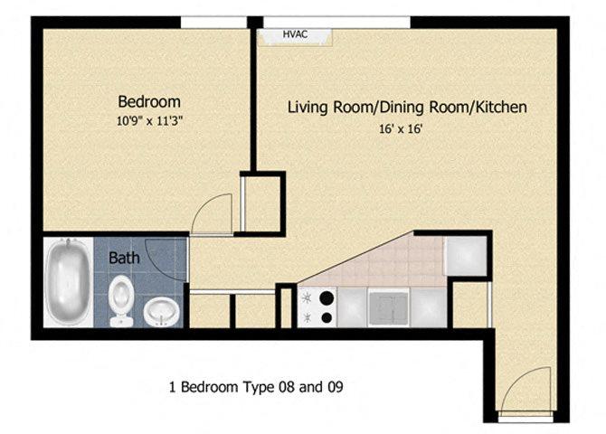 Tabco Towers 1 Bedroom Floor Plan