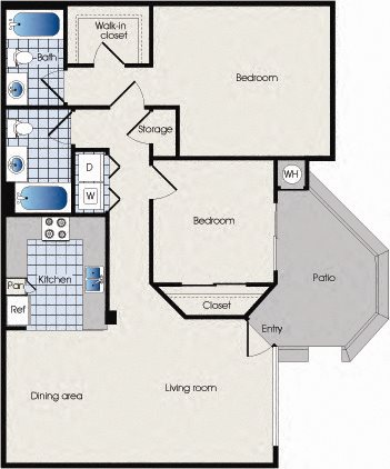 Floor plan B1, 909 West, Apartment Homes, Floor plan B1, Tempe, AZ