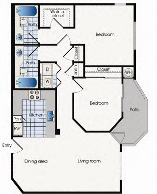 Floor plan B2, at 909 West Apartment Homes, Arizona,  85283