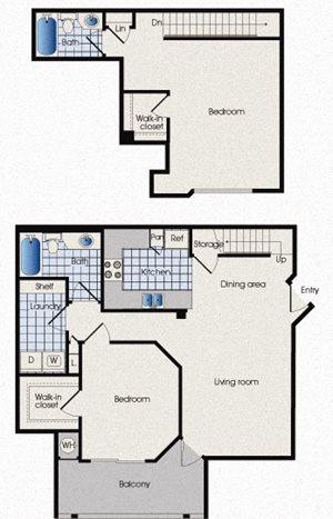 Floor plan B3 at 909 West, two bedrooms, Tempe, AZ, 85283