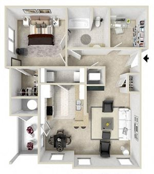 Apartments Daphne One Bedroom Floor plan