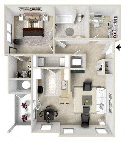 Apartments Daphne One Bedroom Floor plan