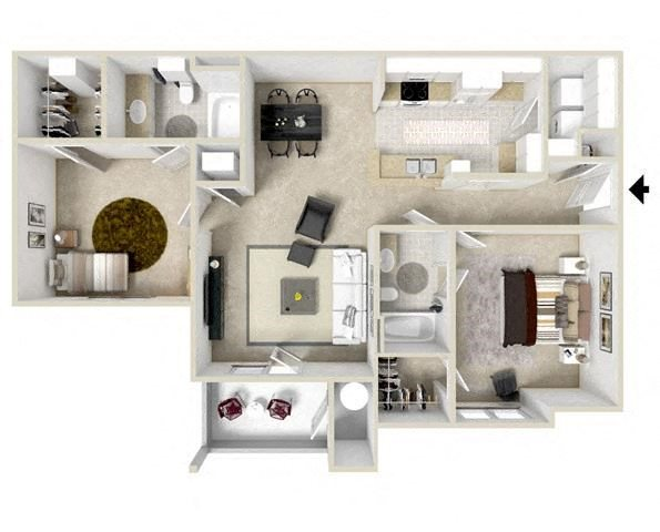 Two bedroom Floor Plan 2