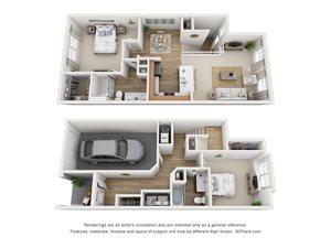 2 Bedroom, 2 Bath Townhome 1,342 sq. ft. (B)