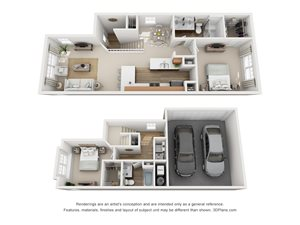2 Bedroom, 2 Bath Townhome 1,304 sq. ft.