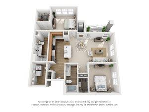 2 Bedroom, 2 Bath 1,224 sq. ft. (B)