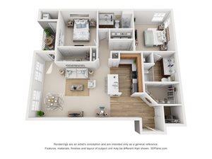 2 Bedroom, 2 Bath 1,255 sq. ft. (C)