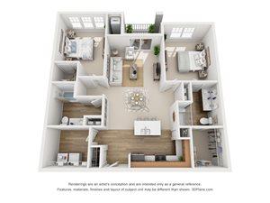 2 Bedroom, 2 Bath 1,230 sq. ft. (D)