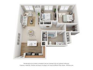 2 Bedroom, 1 Bath 1,086 sq. ft. (E)