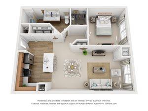 1 Bedroom, 1 Bath 884 sq. ft. (G)