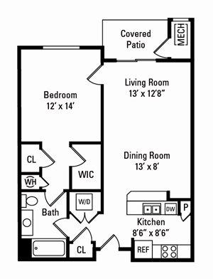 1 Bedroom, 1 Bath 802 sq. ft.