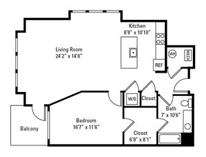 1 Bedroom, 1 Bath 1,001 sq. ft.