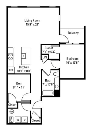 1 Bedroom, 1 Bath with Den 1,111 sq. ft.