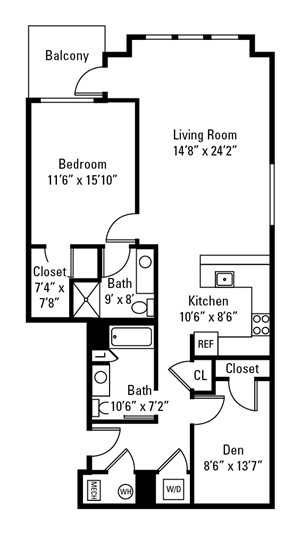1 Bedroom, 2 Bath with Den 1,172-1,231 sq. ft.
