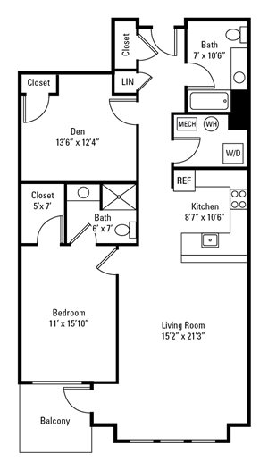 1 Bedroom, 2 Bath with Den 1,178-1,237 sq. ft.