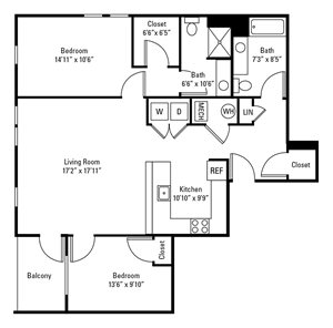 2 Bedroom, 2 Bath 1,151-1,218 sq. ft.