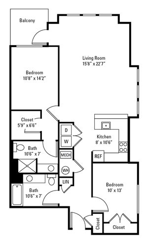2 Bedroom, 2 Bath 1,193-1,273 sq. ft.