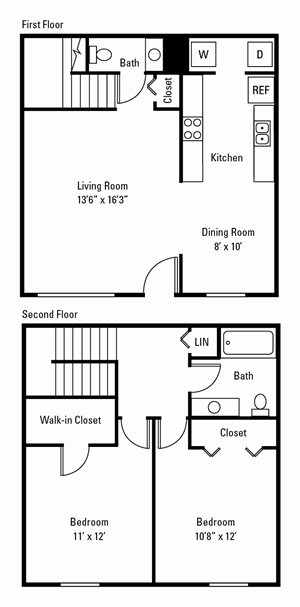 2 Bedroom, 1.5 Bath Townhome 990 sq. ft.