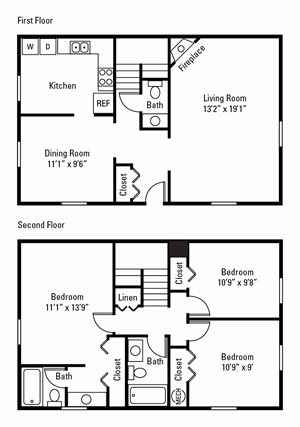 3 Bedroom, 2.5 Bath Townhome 1,238 sq. ft.