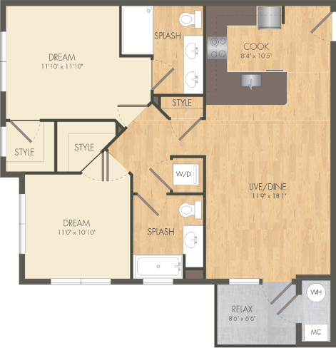 The Anchor Floor Plan at Post and Main Apartment
