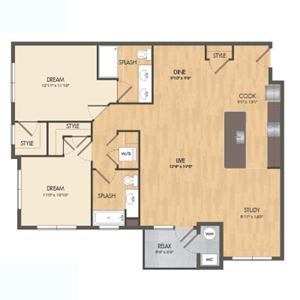 The Buoy Floor Plan at Post and Main Apartment