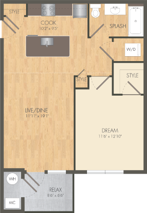 The Gangway Floor Plan at Post and Main Apartment