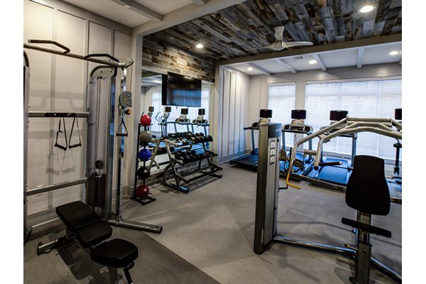 Club-quality athletic studio with state-of-the-art cardio equipment, Post and Main Apartments in Connecticut, 06475