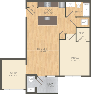 The Helm Floor Plan at Post and Main Apartment