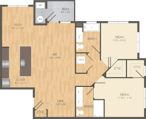 The Jib Floor Plan at Post and Main Apartment