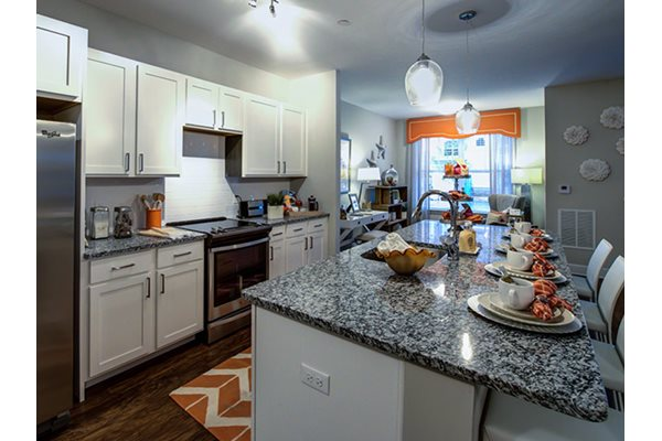 Granite counters in kitchen and bathrooms, Post and Main Apartment Homes, Old Saybrook, 7 North Main Street