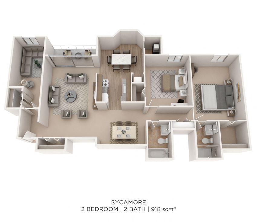2 Bedroom 2 Bath Den