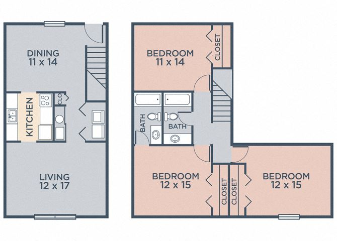 Carlton (3.20a) FloorPlan at Barrington Estates Apartments, Indianapolis, Indiana