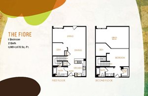The Fiore floor plan, one bedroom, two bathroom apartment, in Concord, California