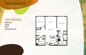 The Davinci floor plan, 2 bedroom 2 bathroom apartment home at Renaissance Square, 1825 Galindo Street