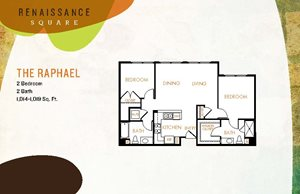 The Raphael floor plan, 2 bedrooms and 2 bathrooms, Renaissance Square, Bay Area Apartment Homes