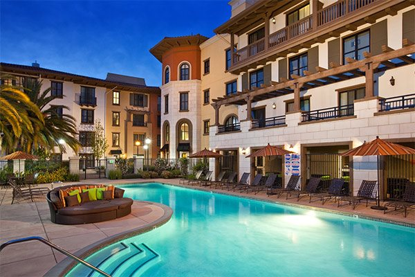 refreshing swimming pool and spa, at Renaissance Square Apartment Homes in Concord, 1825 Galindo Street