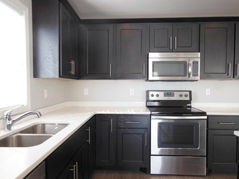 kitchen cabinets, counters