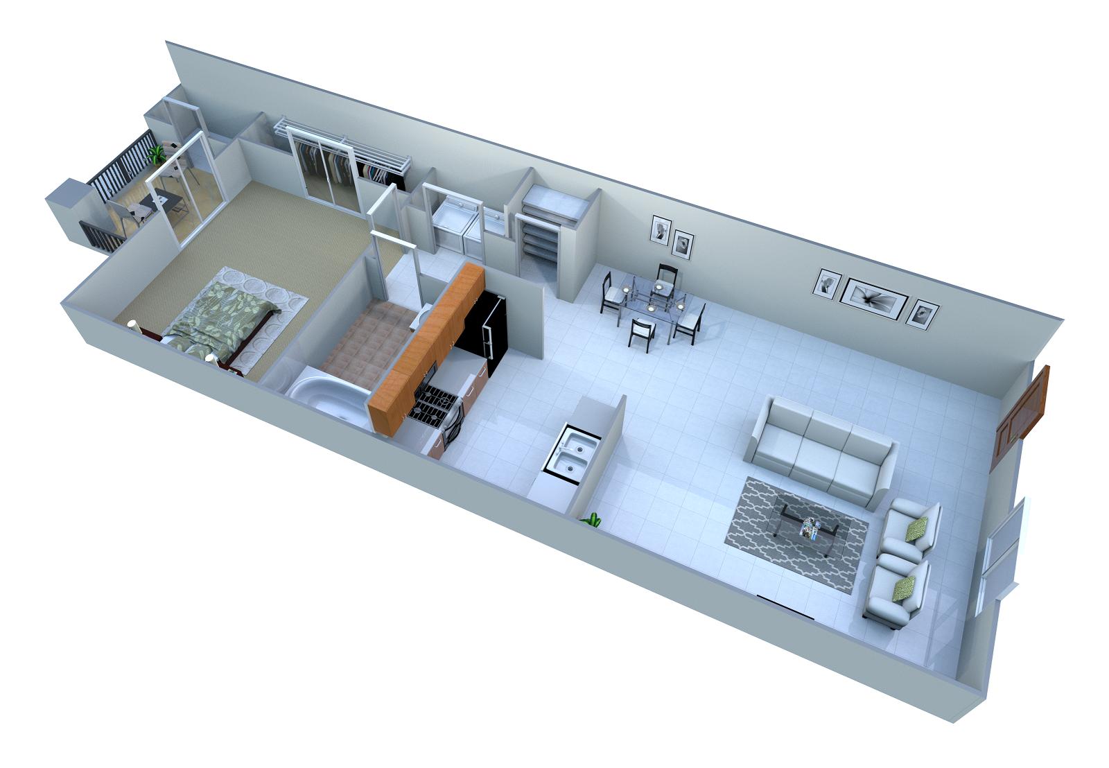 1 Bed Floor Plan 1