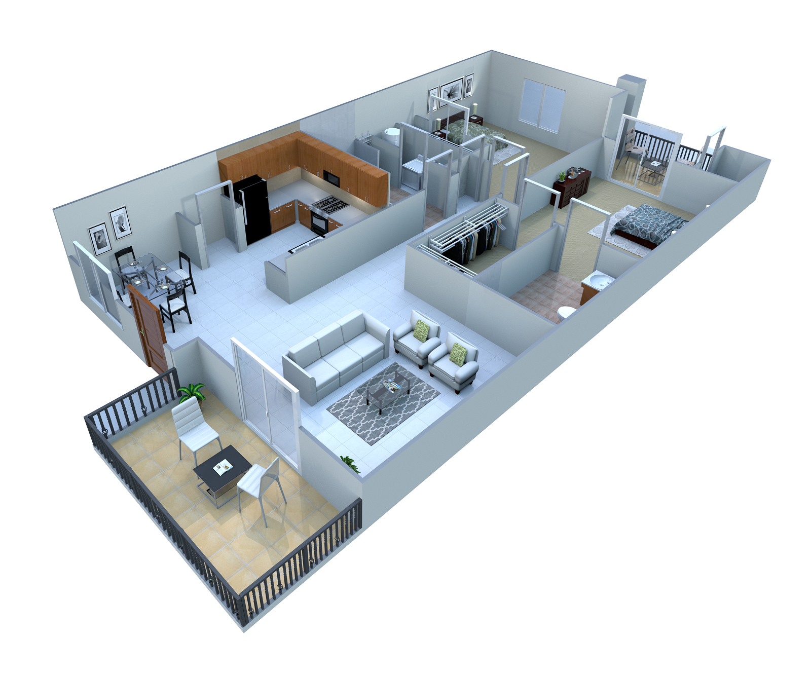 2 Bed. Flat Floor Plan 1