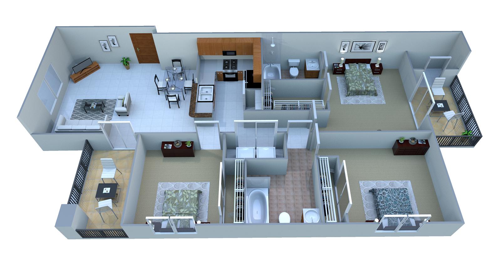 3 Bed. A Floor Plan 4