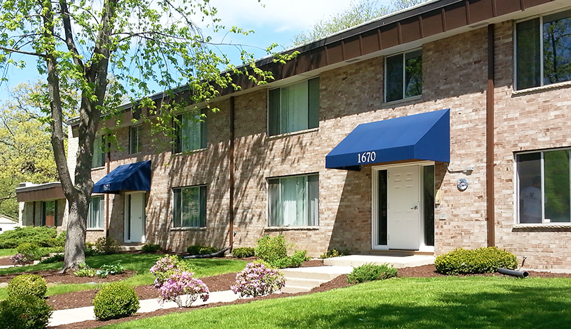 Exterior view.  Lake Point Terrace Apartments.  Madison, Wi.