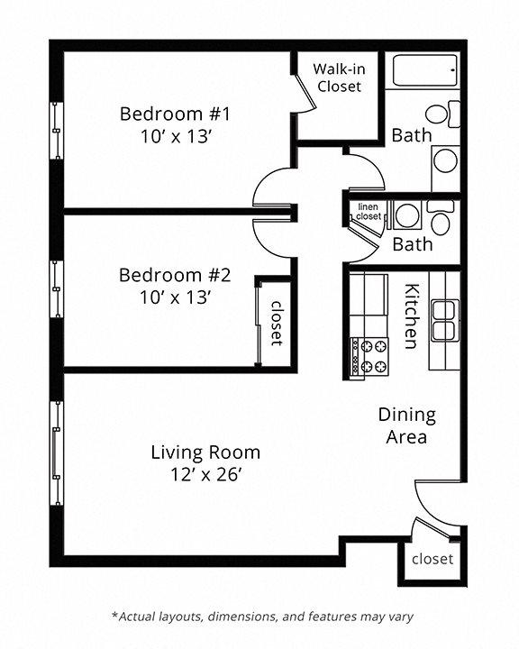 2 Bed 1.5 Bath Floor Plan 5